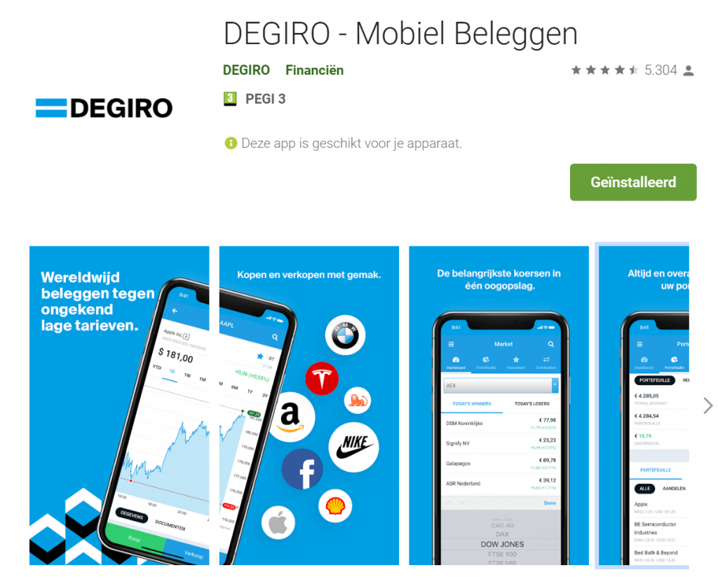 DEGIRO app screenshots
